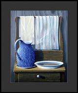 Still life - Enamelware pitcher, bowl of water and towels on an antique wash stand.
