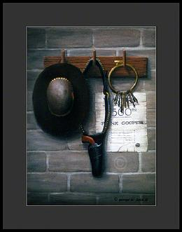 Still life of an old wanted poster, hat, revolver and jail cell keys hanging on an old wall.