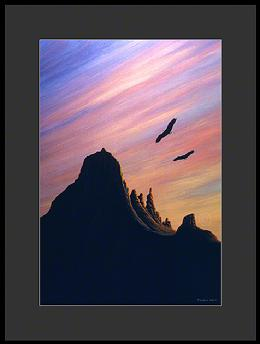 Two eagles soaring in the Sawtooth Range of the Sierra Nevada Mountains